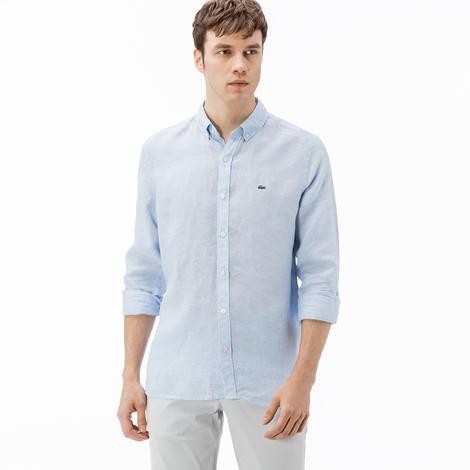 Lacoste Erkek Slim Fit Keten Mavi Gömlek