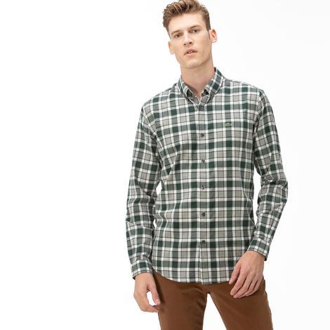 Lacoste Erkek Slim Fit Ekose Desenli Yeşil Gömlek