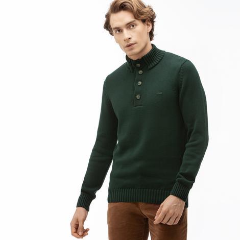 Lacoste Erkek Boğazlı Yeşil Triko Kazak