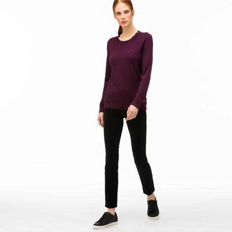 Lacoste Kadın Slim Fit Siyah Kadife Pantolon