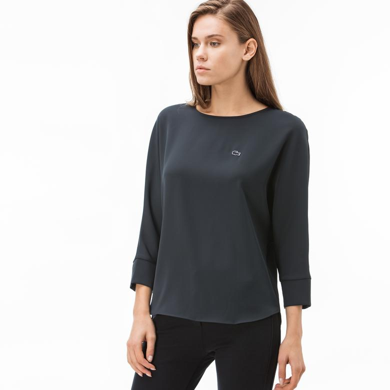 Lacoste Kadın Kayık Yaka Truvakar Kollu Lacivert Bluz