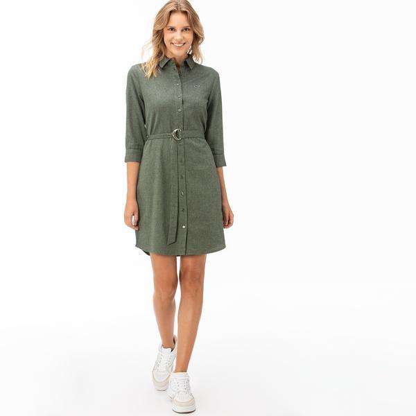 Lacoste Kadın Truvakar Kollu Yeşil Elbise