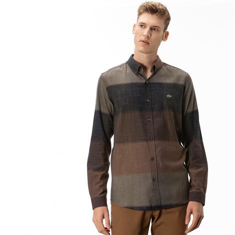 Lacoste Erkek Slim Fit Blok Desenli Kahverengi Gömlek