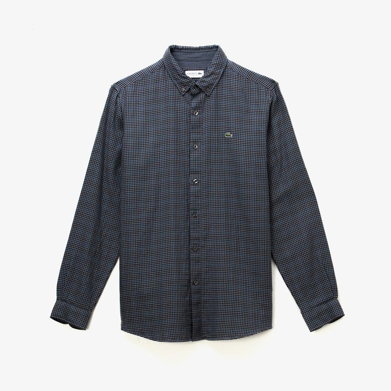 Lacoste Erkek Regular Fit Kareli Lacivert Gömlek