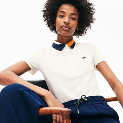 Lacoste Kadın Slim Fit Blok Desen Yakalı Beyaz Polo