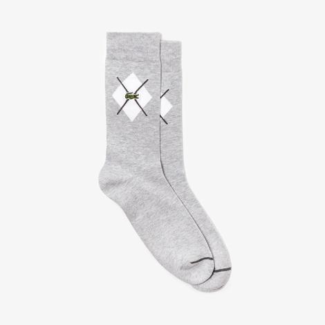 Lacoste Unisex Desenli Gri Çorap