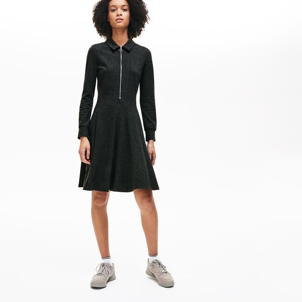 Lacoste Kadın Fermuarlı Gri Elbise