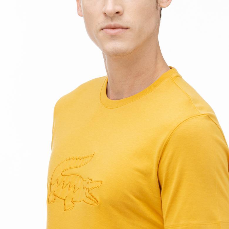 Lacoste Erkek Regular Fit Sarı Baskılı Desenli T-Shirt