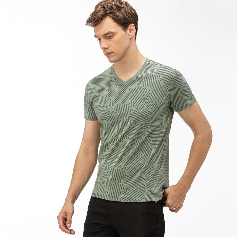 Lacoste Erkek Desenli V Yaka  Yeşil T-Shirt
