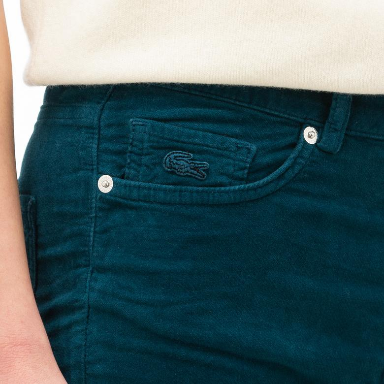 Lacoste Kadın Slim Fit Kadife Mavi Pantolon