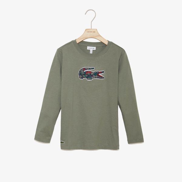 Lacoste Çocuk Yeşil Timsah Baskılı T-Shirt