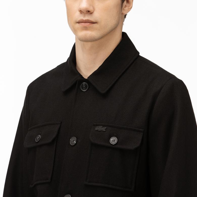 Lacoste Erkek Yün Karışımlı Siyah Logo Detaylı Mont