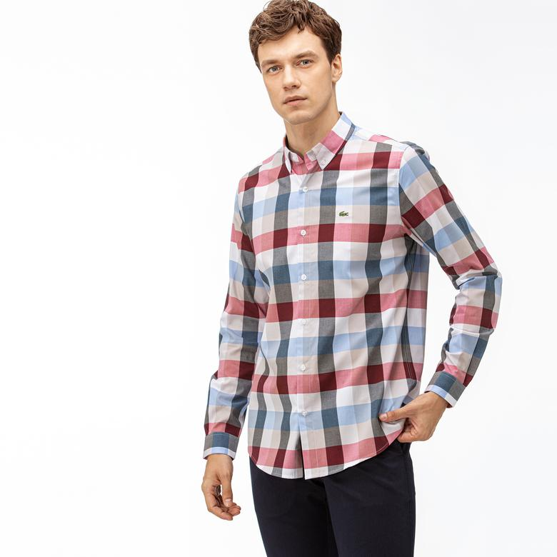 Lacoste Erkek Slim Fit Ekose Desenli Bordo Gömlek
