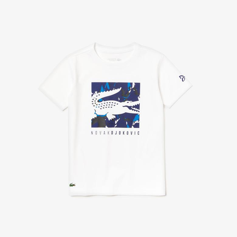 Lacoste Novak Djokovic Çocuk Beyaz Baskılı Desenli T-Shirt