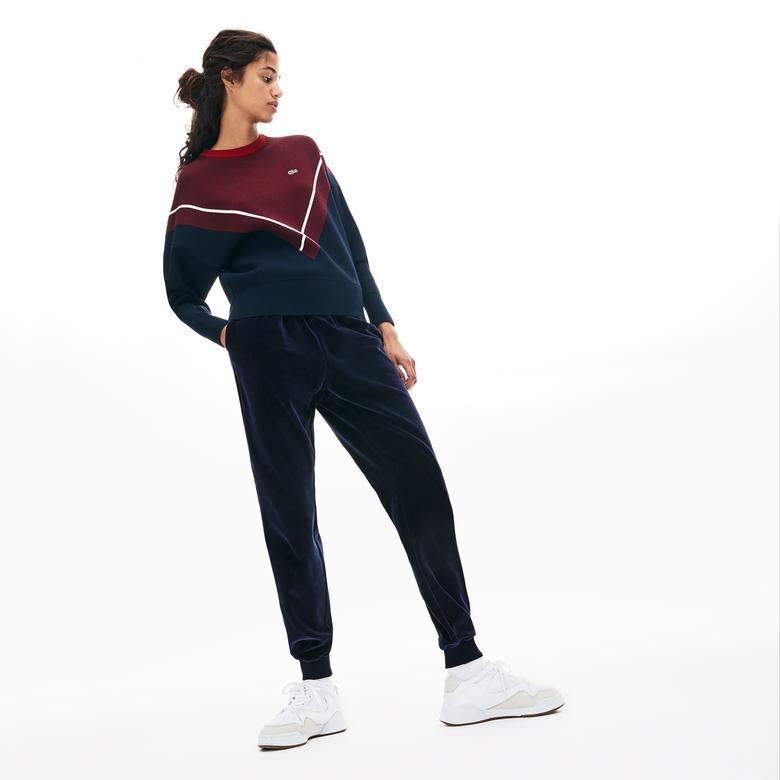 Lacoste Kadın Lacivert Kadife Pantolon