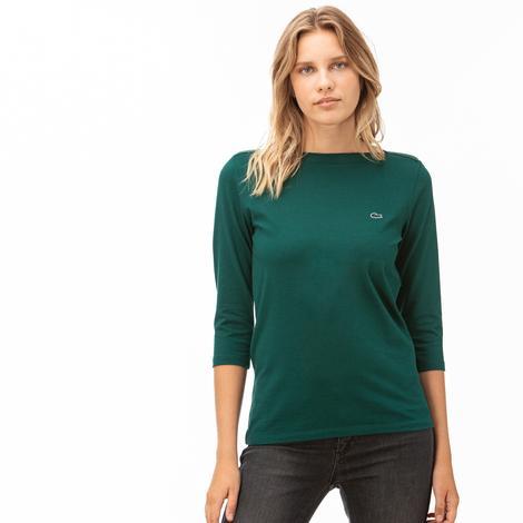 Lacoste Kadın Yeşil Truvakar Kollu T-Shirt