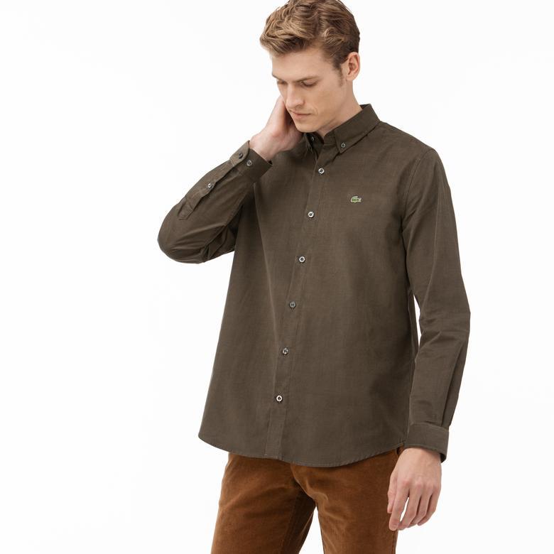 Lacoste Erkek Regular Fit Yeşil Kadife Gömlek