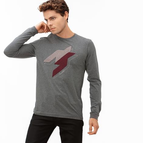 Lacoste Erkek Gri Uzun Kollu Desenli T-Shirt