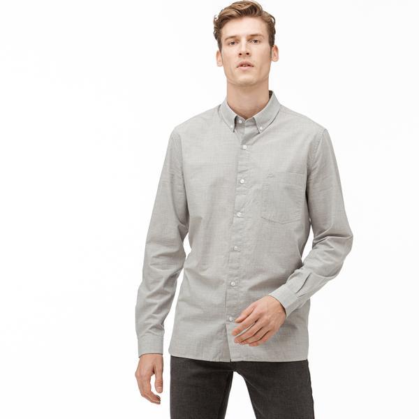 Lacoste Erkek Slim Fit Düğmeli Yaka Gri Gömlek