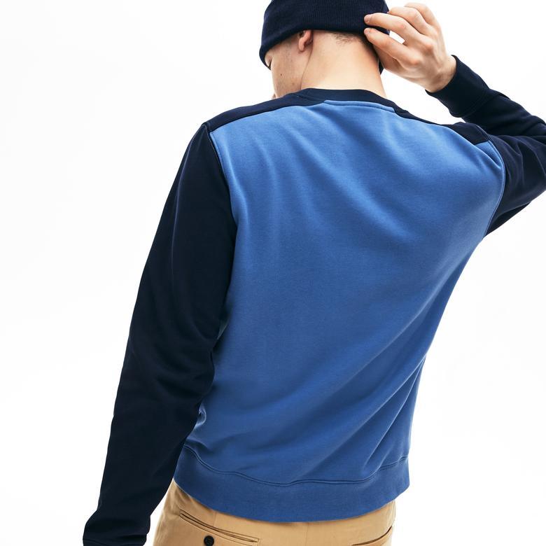 Lacoste Erkek Blok Desenli Mavi Sweatshirt