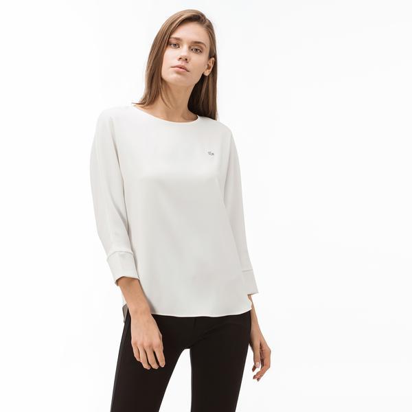 Lacoste Kadın Kayık Yaka Truvakar Kollu Beyaz Bluz