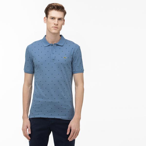 Lacoste Erkek Slim Fit Desenli Mavi Kısa Kollu Polo