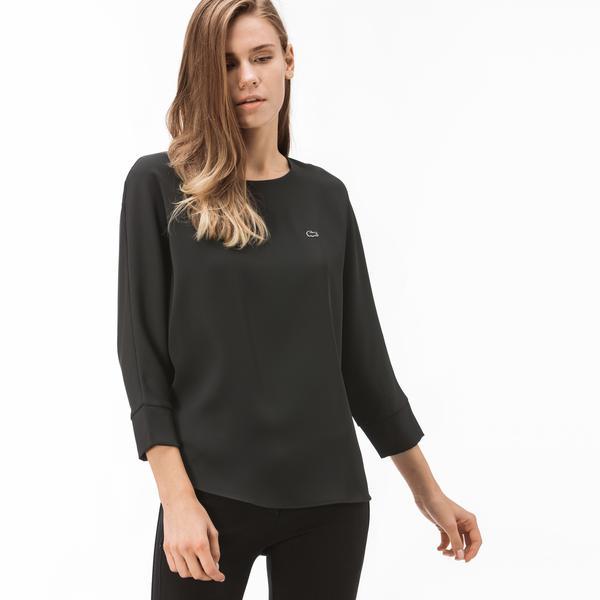 Lacoste Kadın Kayık Yaka Truvakar Kollu Siyah Bluz