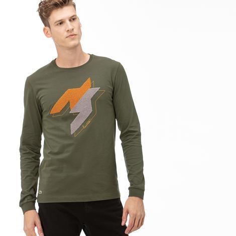 Lacoste Erkek Yeşil Uzun Kollu Desenli T-Shirt