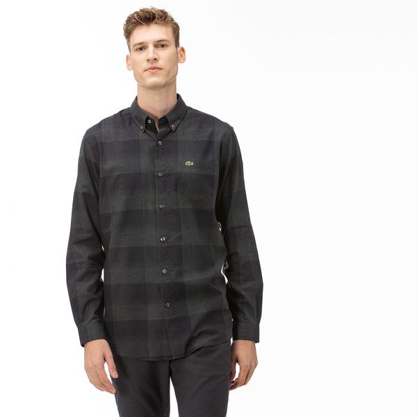 Lacoste Erkek Regular Fit Ekose Desenli Siyah-Gri Gömlek