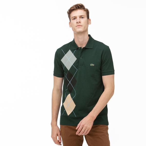 Lacoste Erkek Slim Fit Ekose Desenli Yeşil Uzun Kollu Polo