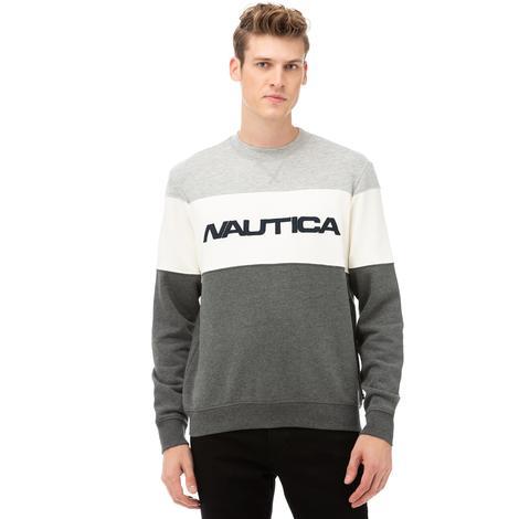 Nautica Erkek Gri Blok Desenli Sweatshirt