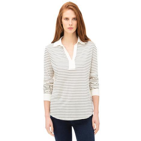 NAUTICA Kadın Krem Standart Fit Çizgili T-Shirt