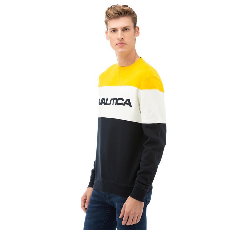 Nautica Erkek Sarı Blok Desenli Sweatshirt