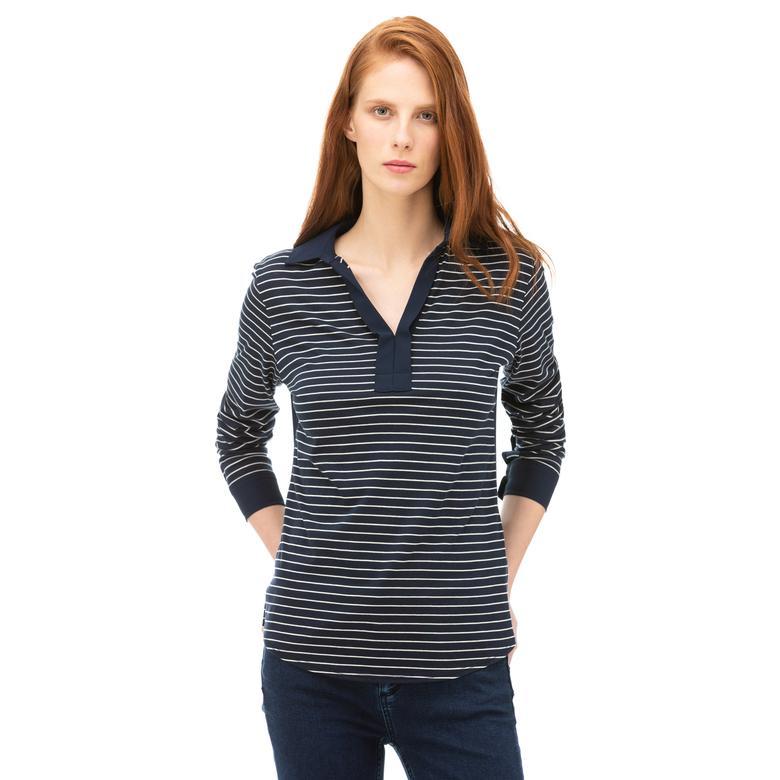 Nautica Kadın Lacivert Standart Fit Çizgili T-Shirt
