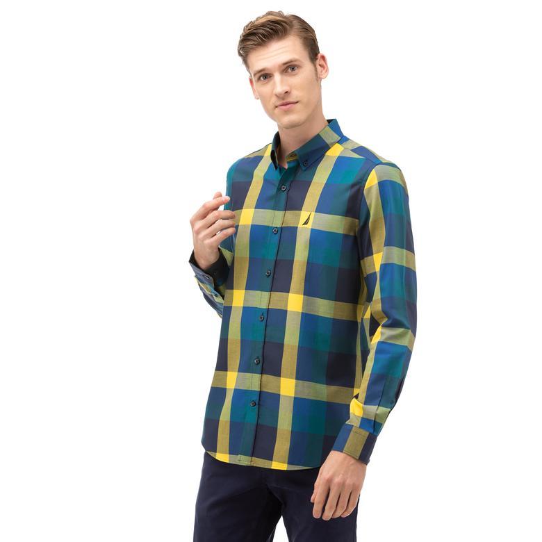 Nautica Erkek Sarı Slim Fit Kareli Gömlek
