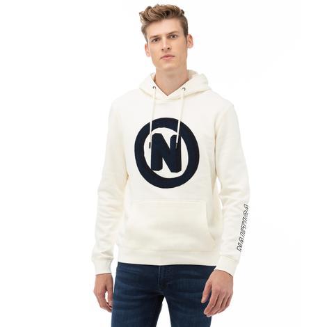 Nautica Erkek Krem Baskılı Sweatshirt