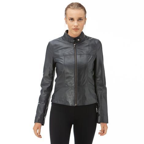 Lacoste Kadın Lacivert Deri Ceket