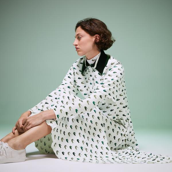 Lacoste Fashion Show Kadın Timsah Baskılı Örme Yaka Beyaz Elbise