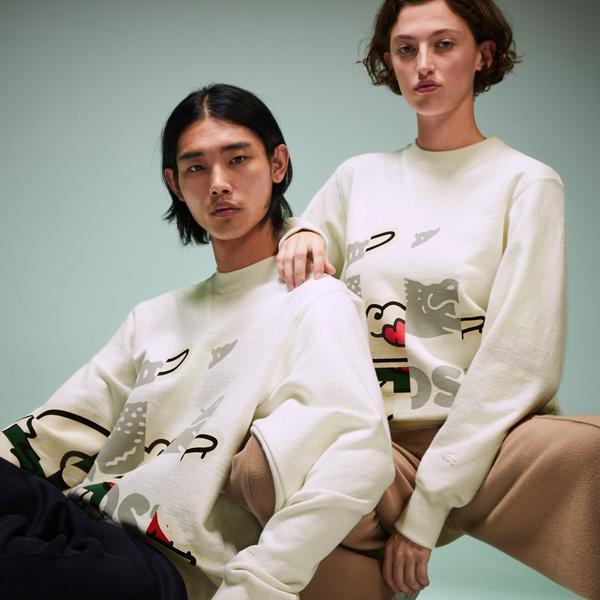 Lacoste Fashion Show Unisex Timsah Baskılı Beyaz Sweatshirt