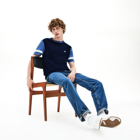 Lacoste Erkek Blok Desenli Lacivert T-Shirt