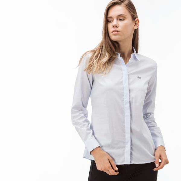 Lacoste Kadın Pamuklu Açık Mavi Gömlek