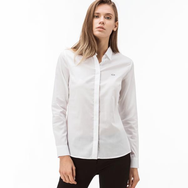 Lacoste Kadın Pamuklu Beyaz Gömlek