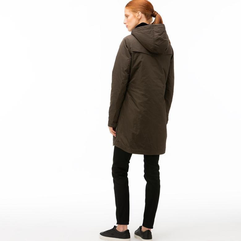 Lacoste Kadın Çift Kullanımlı Kürk Detaylı Kahverengi Mont