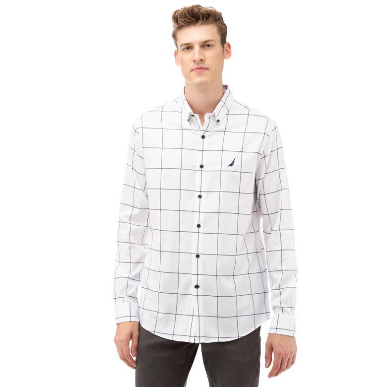 NAUTICA Erkek Beyaz Classic Fit Kareli Gömlek
