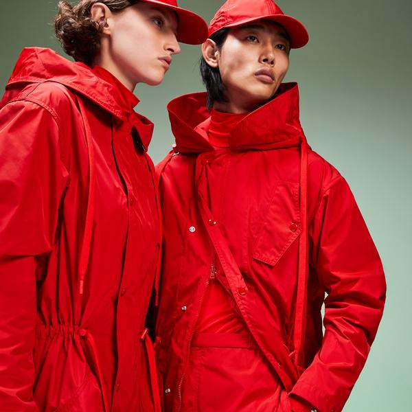 Lacoste Fashion Show Unisex Kırmızı Kapüşonlu Mont