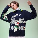 Lacoste Fashion Show Unisex Timsah Baskılı Lacivert Sweatshirt
