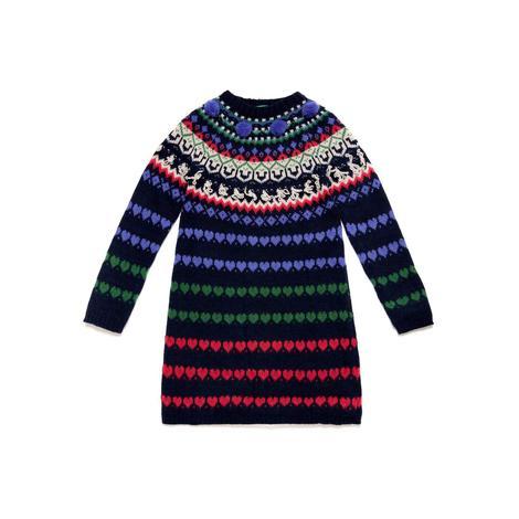 Benetton Çocuk Kalp Jakarlı Triko Elbise