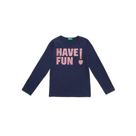 Benetton Çocuk Glitter Baskılı Slogan T-Shirt