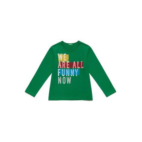 Benetton Çocuk Renkli Slogan Baskılı T-Shirt