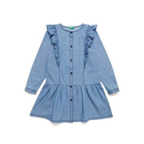 Benetton Çocuk Fırfır Detaylı Düğmeli Elbise